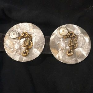 Artisan crafted seahorse and turtle disc earrings
